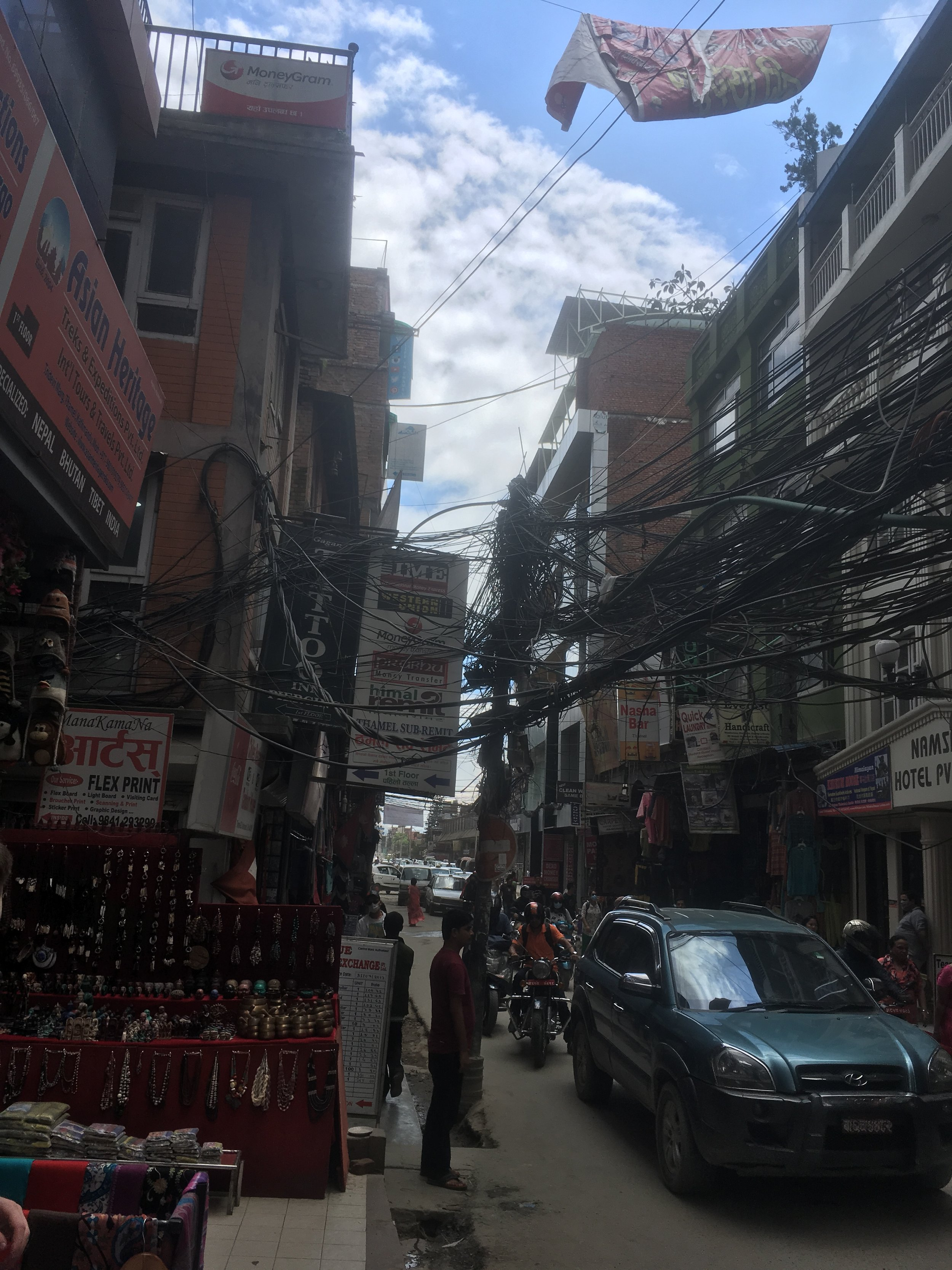 A spider's web of electrical wires