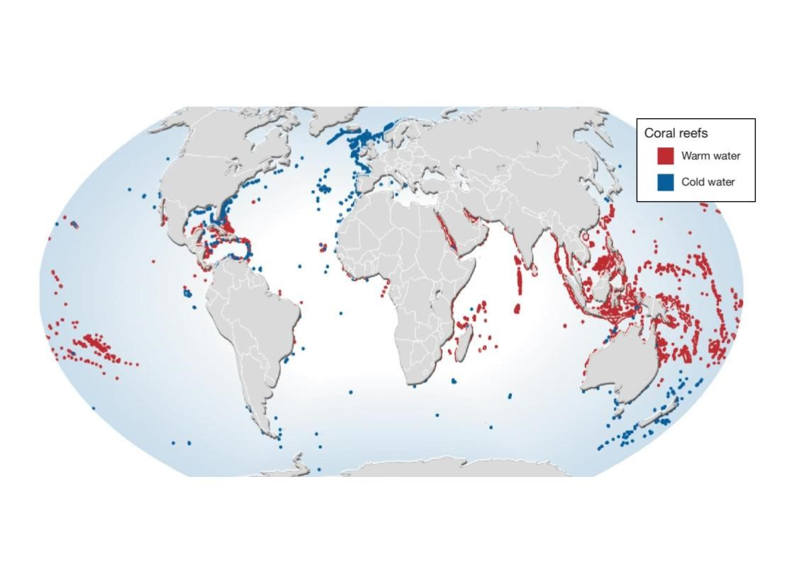 Figure 1: Major coral reef locations (Bryant et al. 1998).