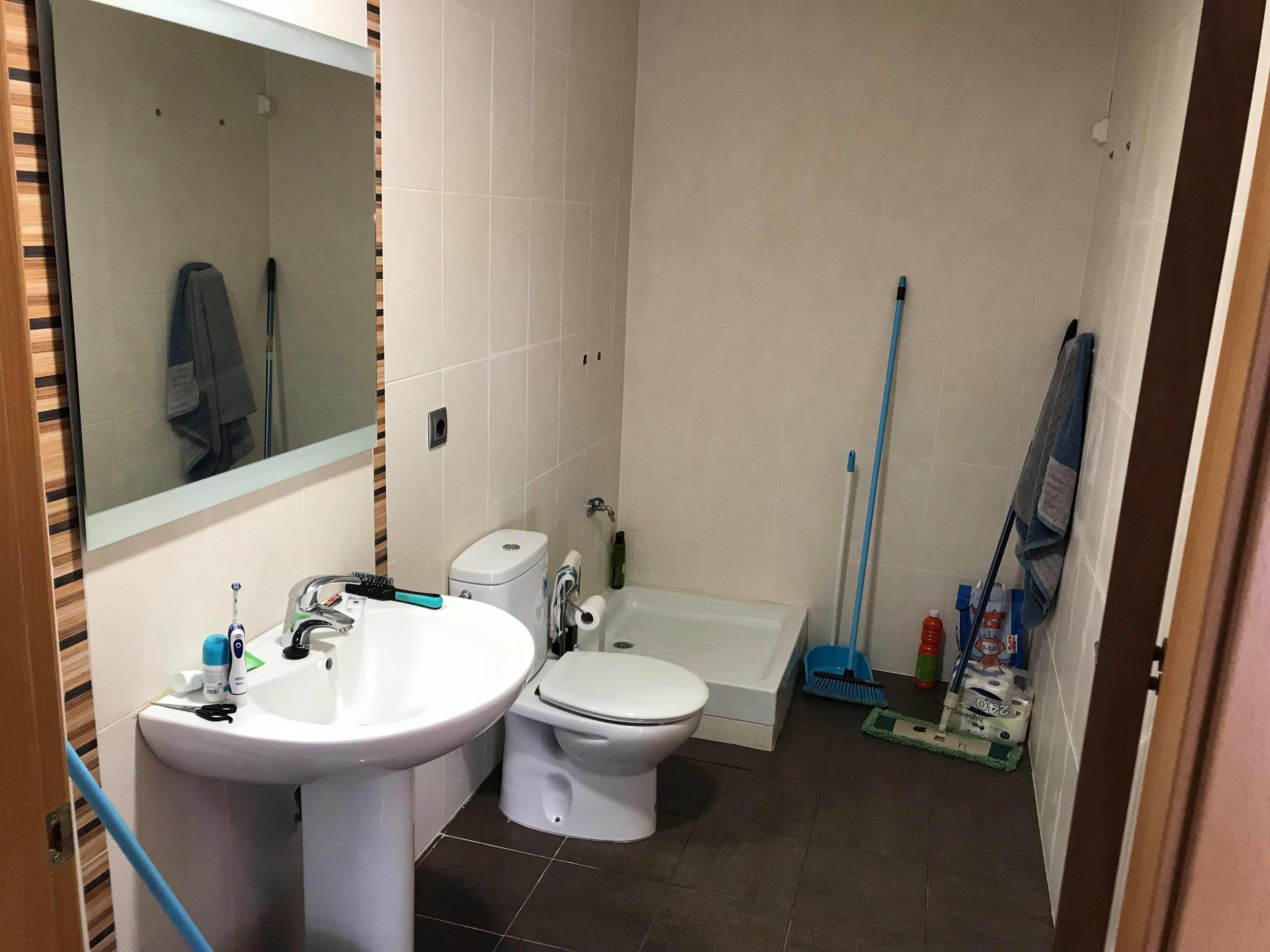 El baño. Si decido quedarme en invierno, pondré un termo y una ducha.