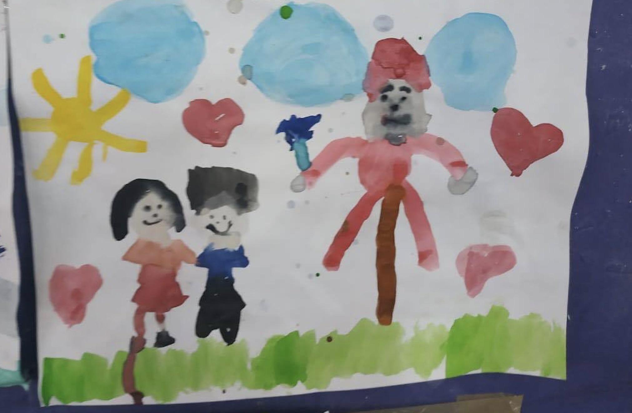 Uno de los dibujos que hicieron de Yoyito, en esa escuela de México.