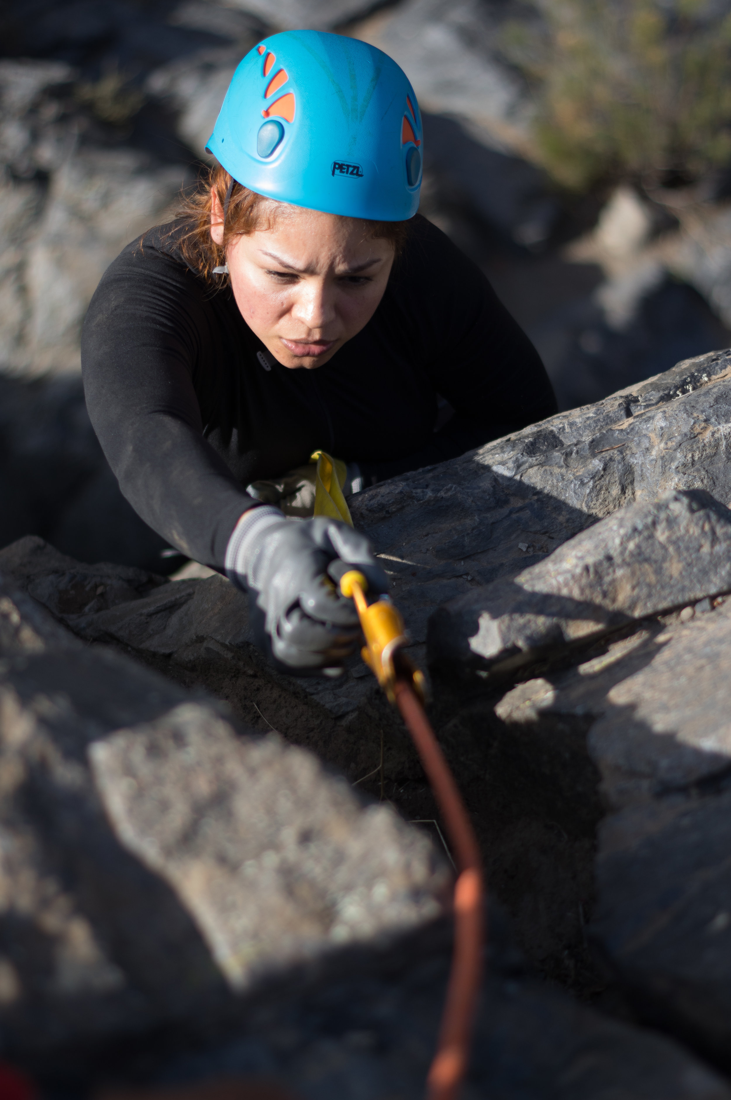 """I'm feeling way more comfortable"", Sinai exhales as she jumars up the last few feet of rope."