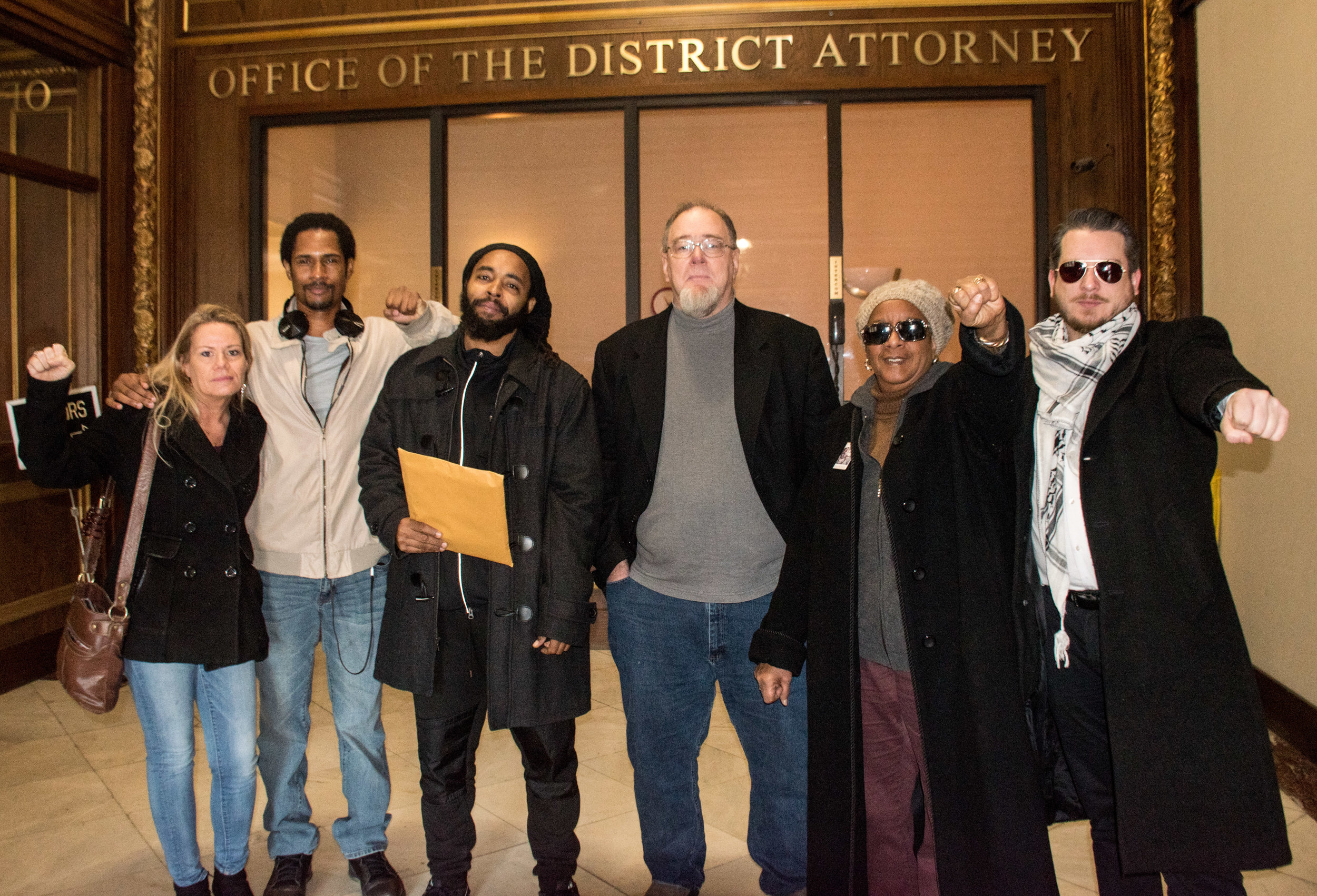 Jan 7, 2019 Thousands of Mumia Abu-Jamal Petitions delivered to DA Krasner  L to R: Sandy Joy, Mike Africa JR, Wayne Cook, John Kirkland, Linda Ragin, Ted Kelly
