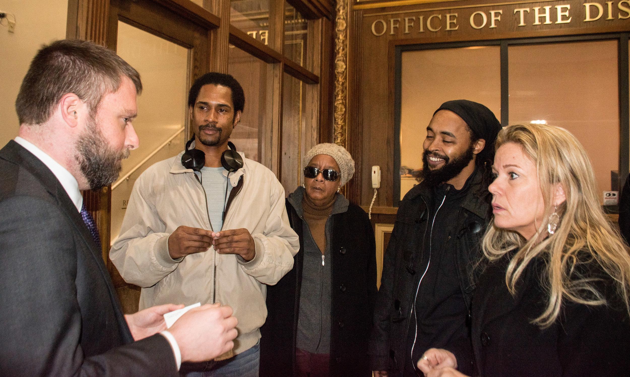 Jan 7, 2019 Thousands of Mumia Abu-Jamal Petitions delivered to DA Krasner  L to R: Ben Waxman, Mike Africa Jr, Linda Ragin, Wayne Cook, Sandy Joy
