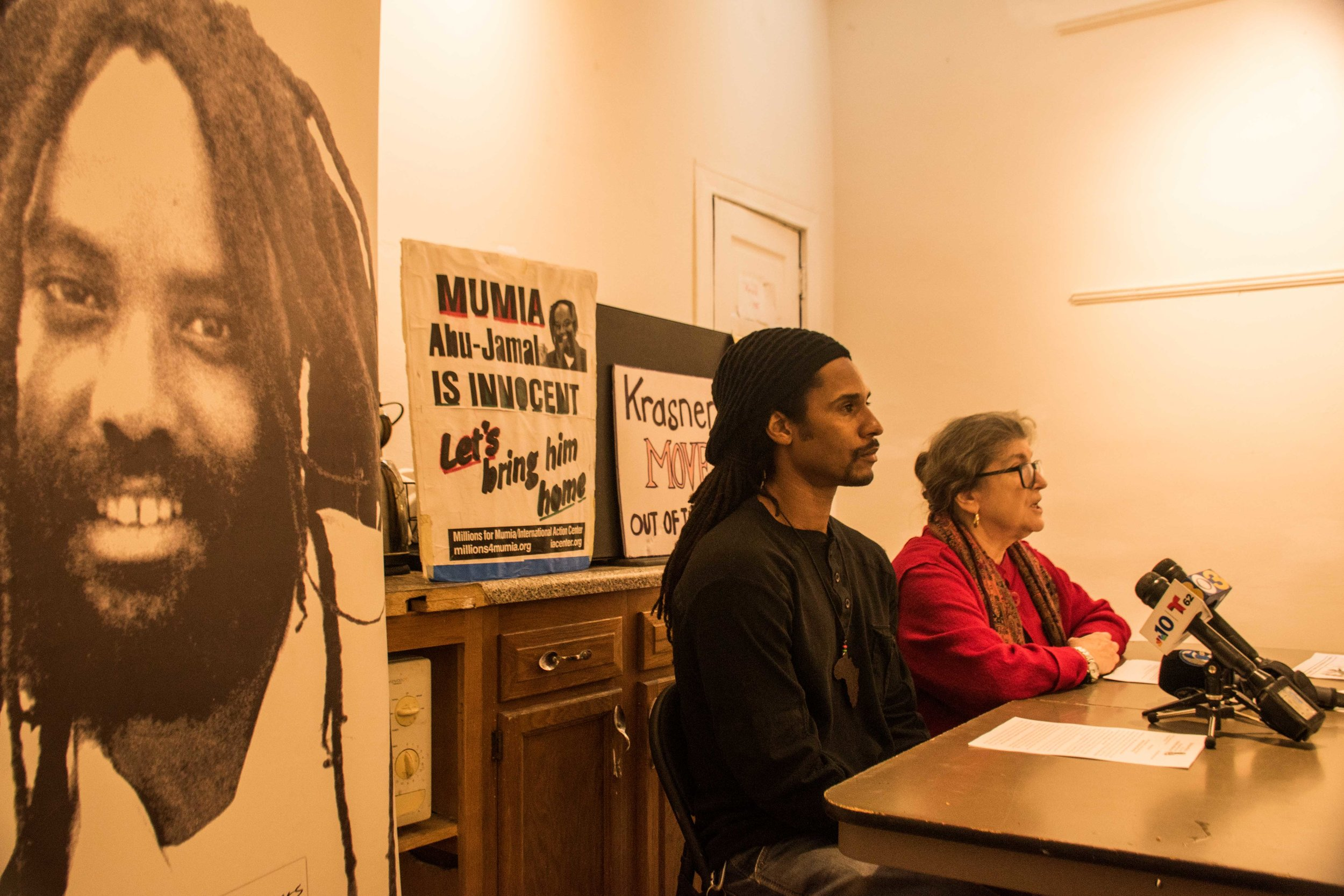 Jan 15, 2019 Press Conference  L to R: Mike Africa JR; Rachel Wolkenstein