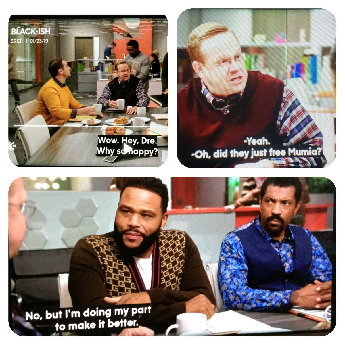 Stills from 1.22.19 episode of Blackish. Watch  here .