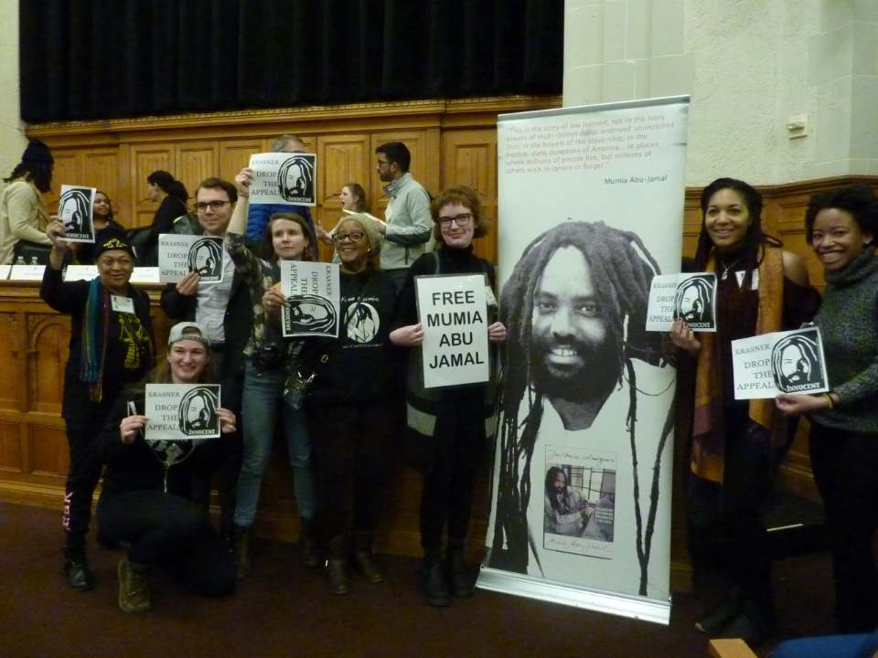 Yale University, Feb 15 - Pam Africa (left) alongside REBLAW activists and supporters who dis-invited Philadelphia DA Larry Krasner because of his appeal of Judge Tuckers decision favorable to Mumia Abu-Jamal and thousands of other Pennsylvania prisoners. Photo: Basym Hasan