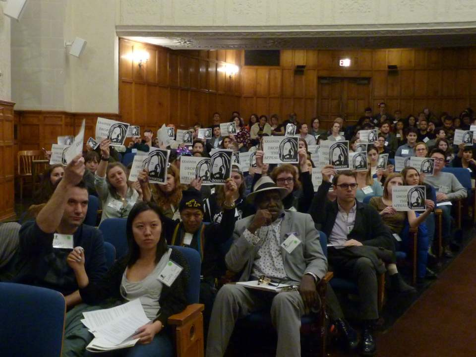 Feb 15 - Yale University - Full house at REBLAW conference listens to speech over phone by Mumia Abu-Jamal. Photo: Linda Randolph-Ragin