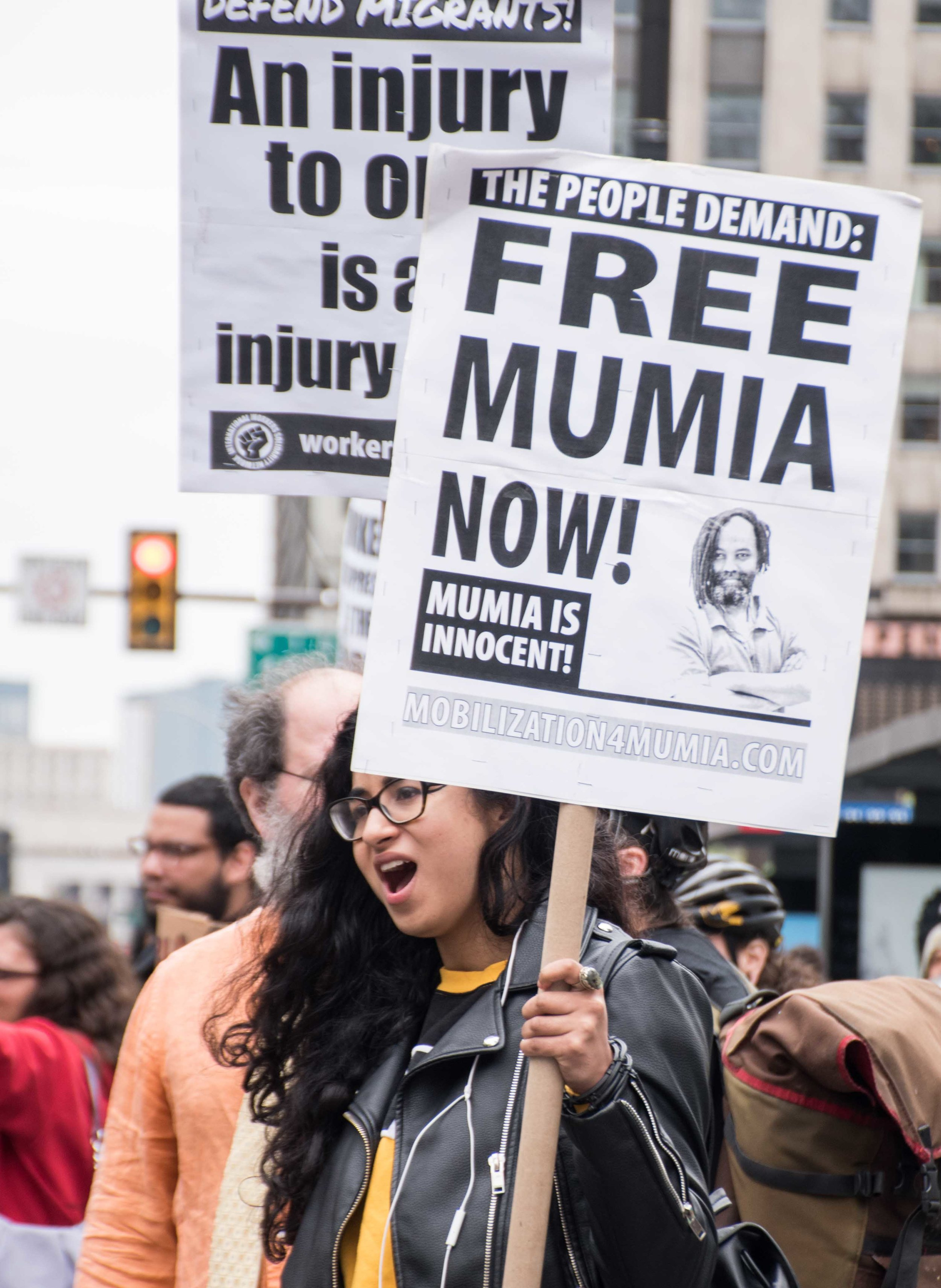 Free Mumia signs at Philly May 1st International Workers Day march. Photo Credit: Joe Piette