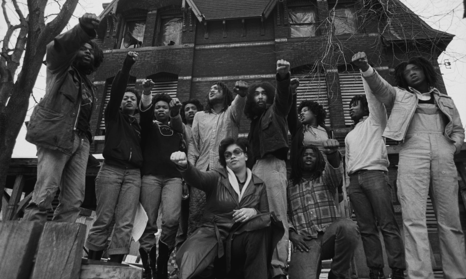 Members of Move in front of their house in the Powelton Village section of Philadelphia in 1977. The group have always said James Ramp was killed by fellow officers. Photograph: Leif Skoogfors/Corbis via Getty Images