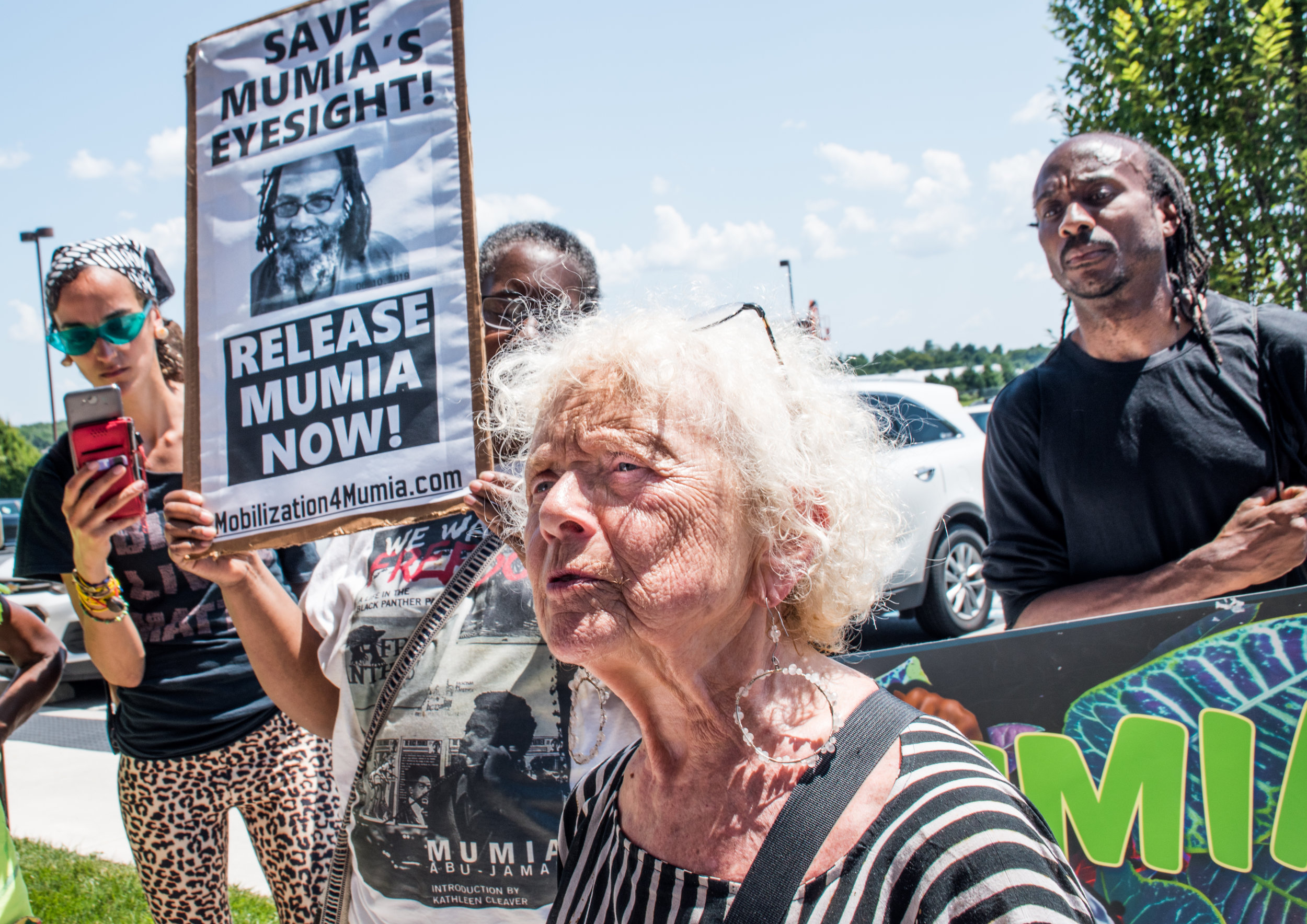 Part of group of Mumia supporters who traveled to Mechanicsburg, PA to deliver 3,000 petitions to the PA DOC on July 24, 2019.  Photo credit: Joe Piette