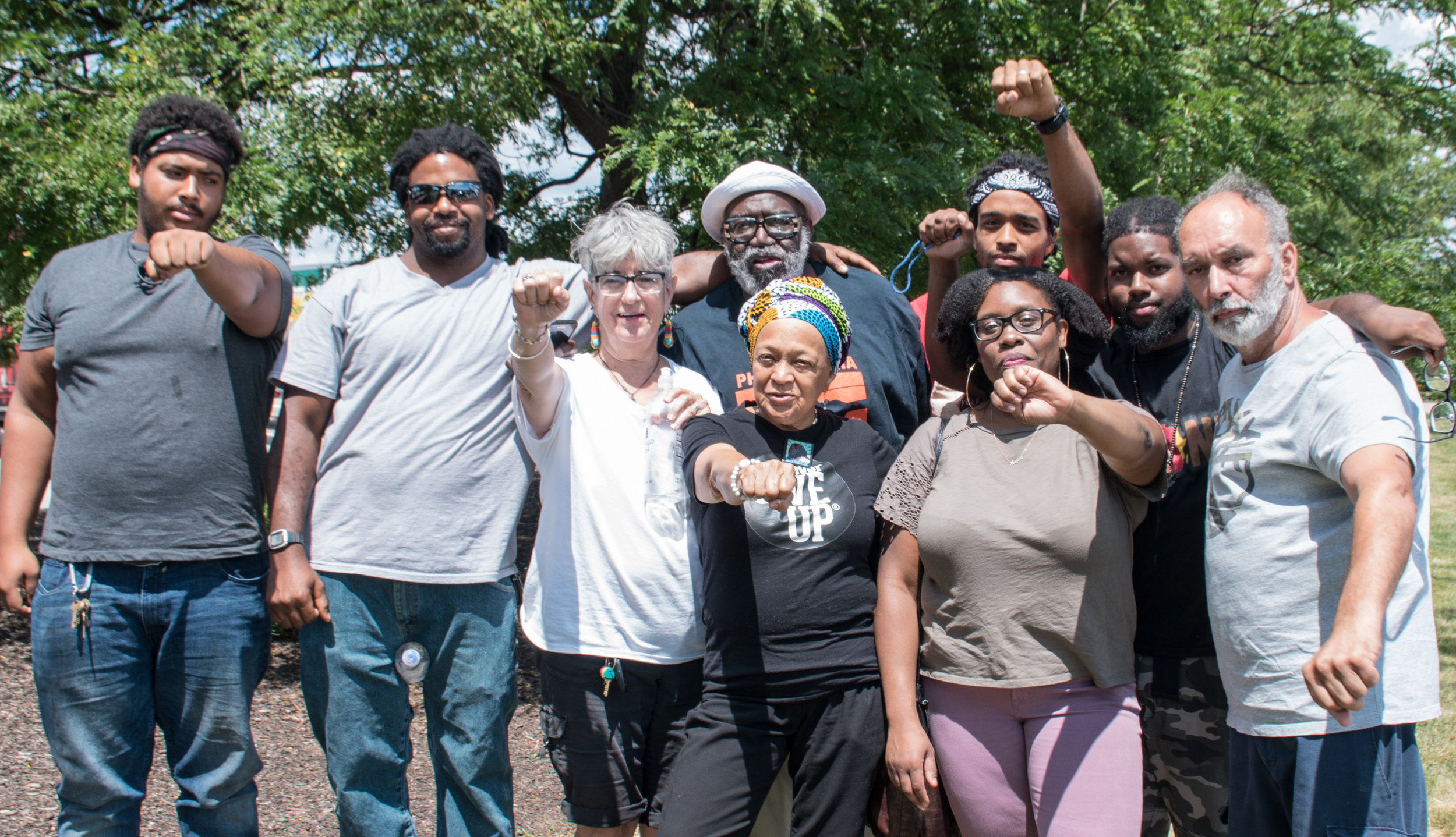 Supporters for MOVE member Delbert Africa on Aug 9, 2019. Photo: Joe Piette