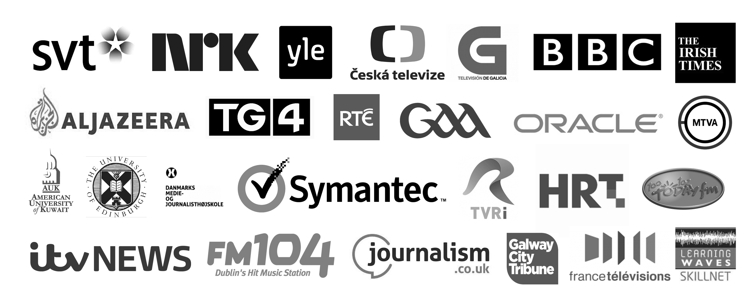 These are just some of the TV broadcasters, radio stations, newspapers, companies and universities who have used our services.