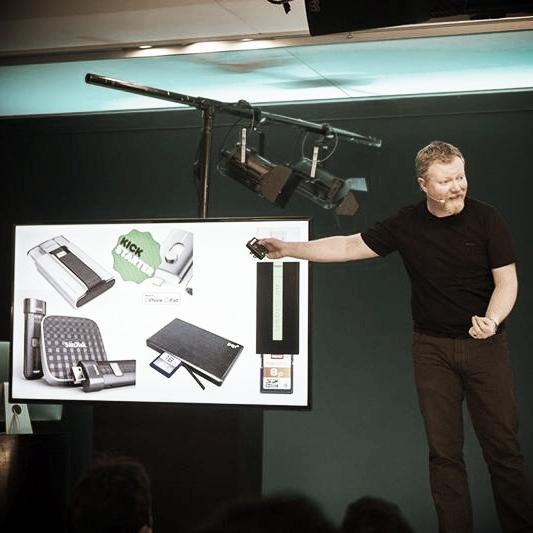 Glen speaking at the Apple Store, Regent Street, London
