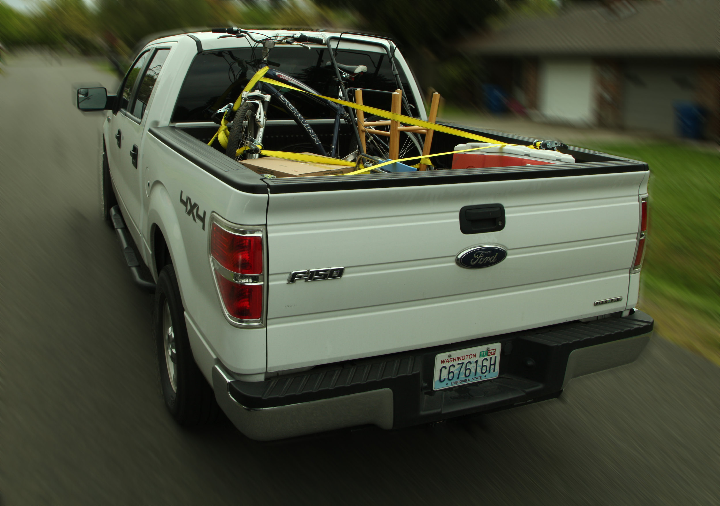 Wrap straps through and around items such as hand trucks and ladders. Secure the straps to anchor points in the bed of the truck or trailer.