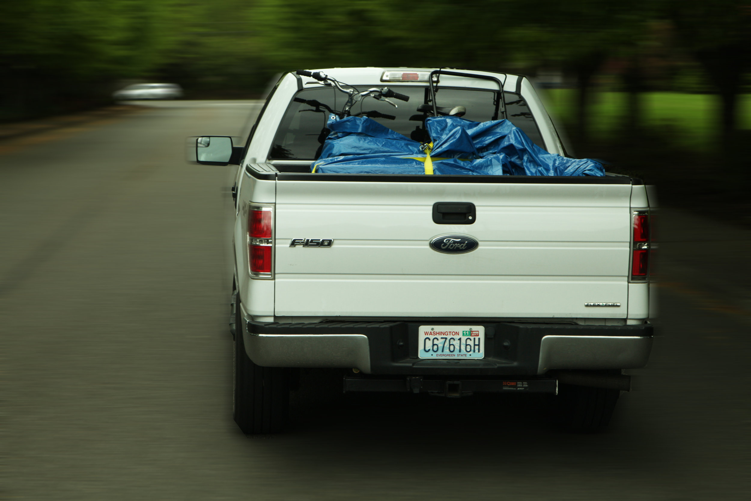 Pack contents on top of your tarp and wrap it tight. This keeps your load and your tarp secure.