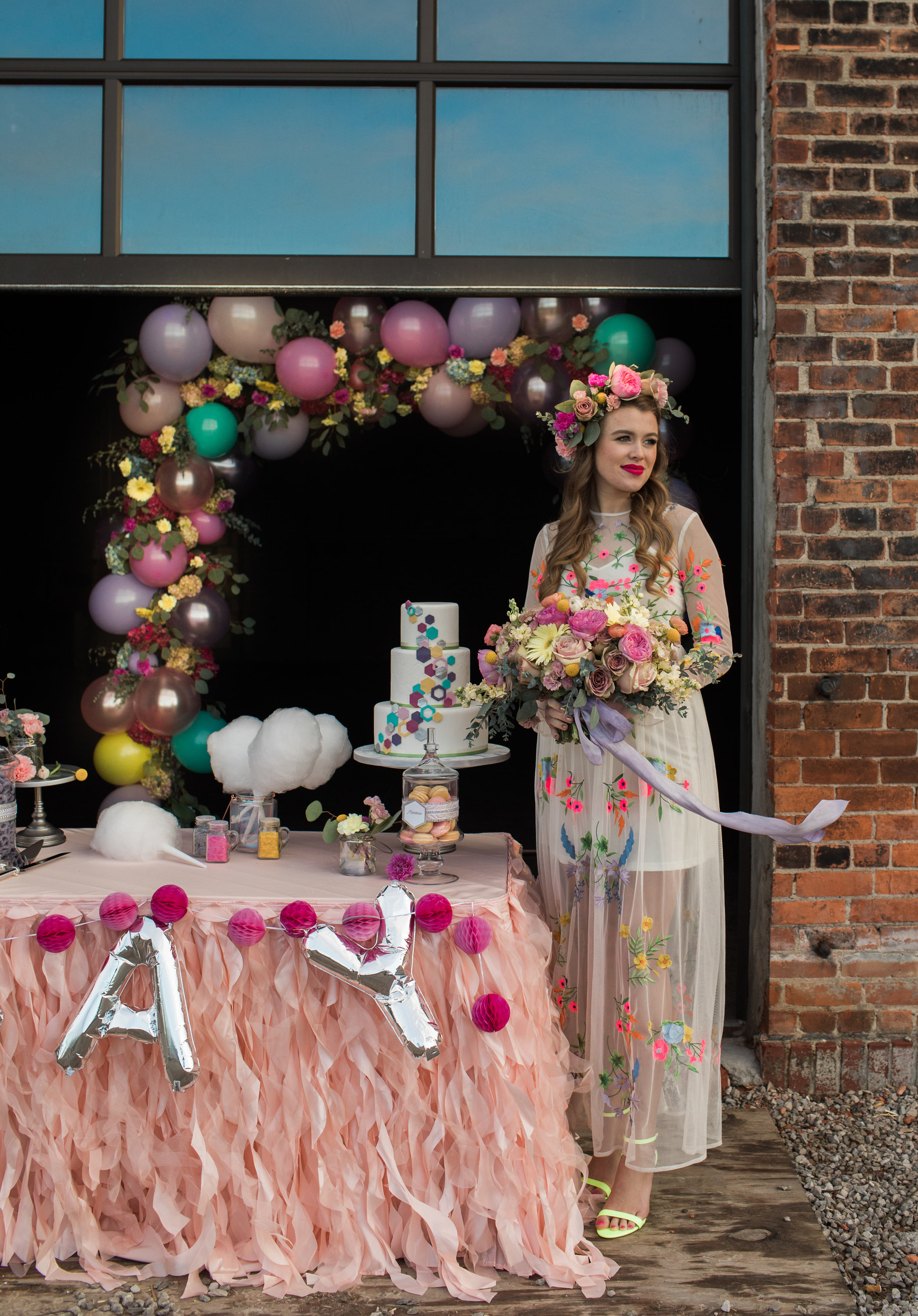 photo by  Casey Brodley , hair and makeup by  Kyle Ann , model Erin Marie, cotton candy by  Spun Sugar Detroit , cake and desserts by  Bella e Dolce , flowers by  Floral Sense , ribbon by Rosemarine Textiles, event design by  Pixie Dust Events , rentals by  Special Occasions East