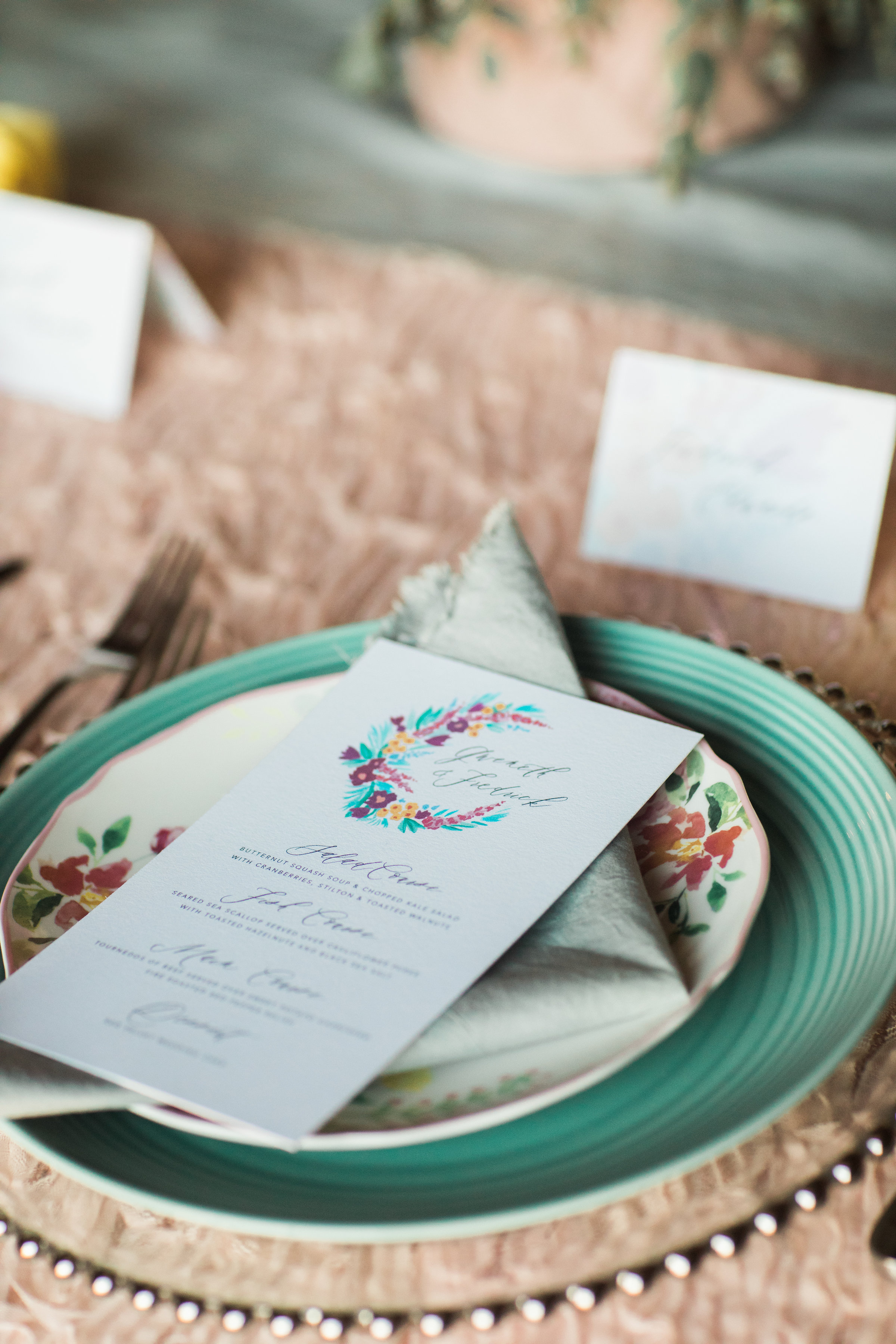 photo by Casey Brodley, napkin and table runner by Rosemarine Textiles, menu by Jade Social, event design by Pixie Dust Events