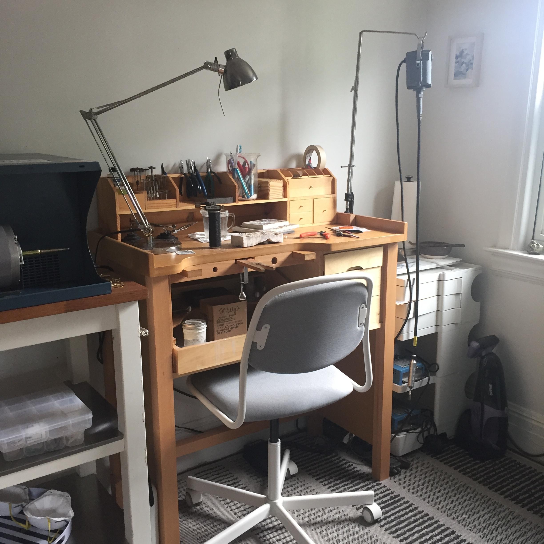 Libby's workspace - her jewelry workbench