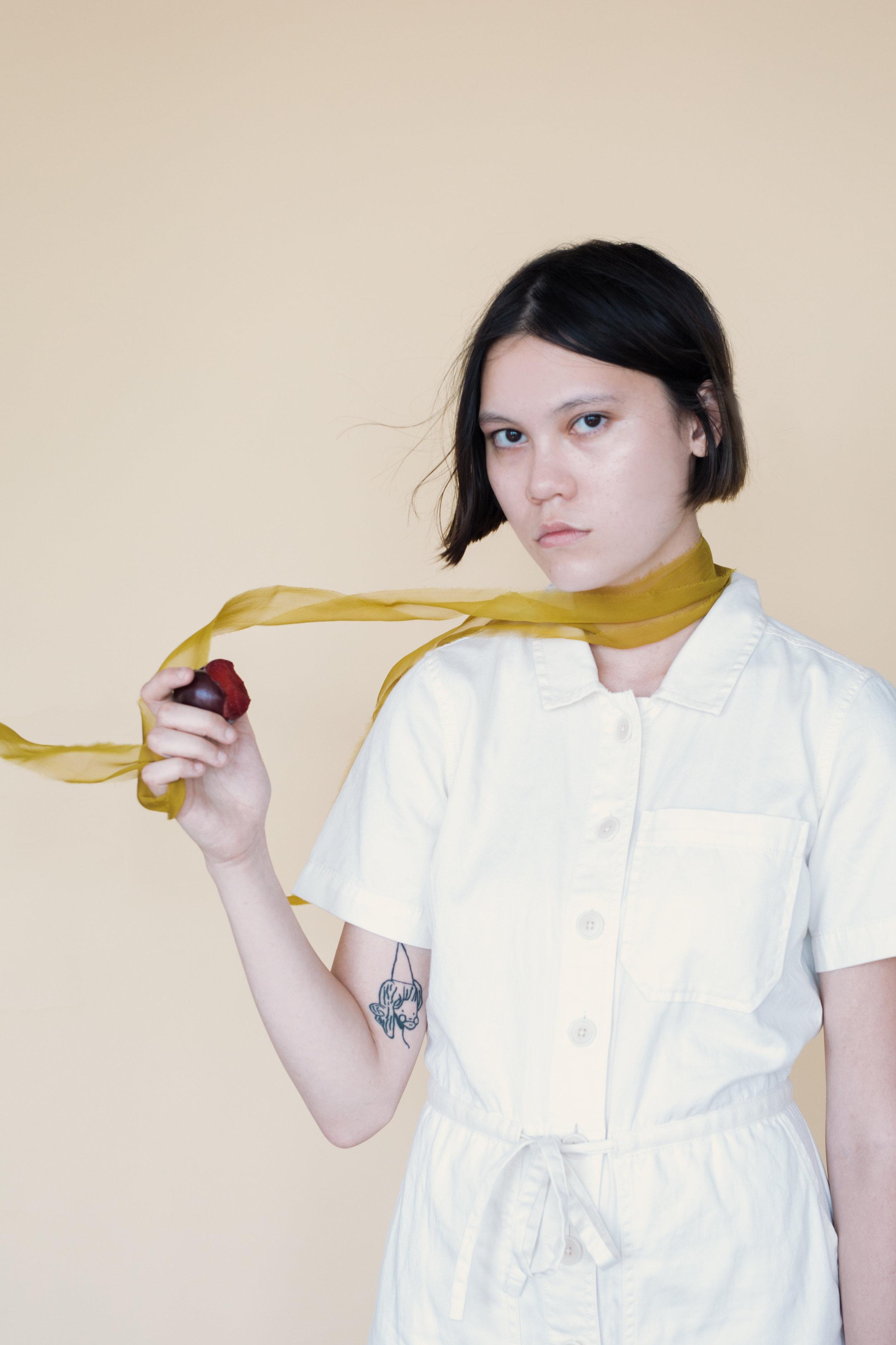 "deep chartreuse    2"" chiffon silk ribbon as a scarf"