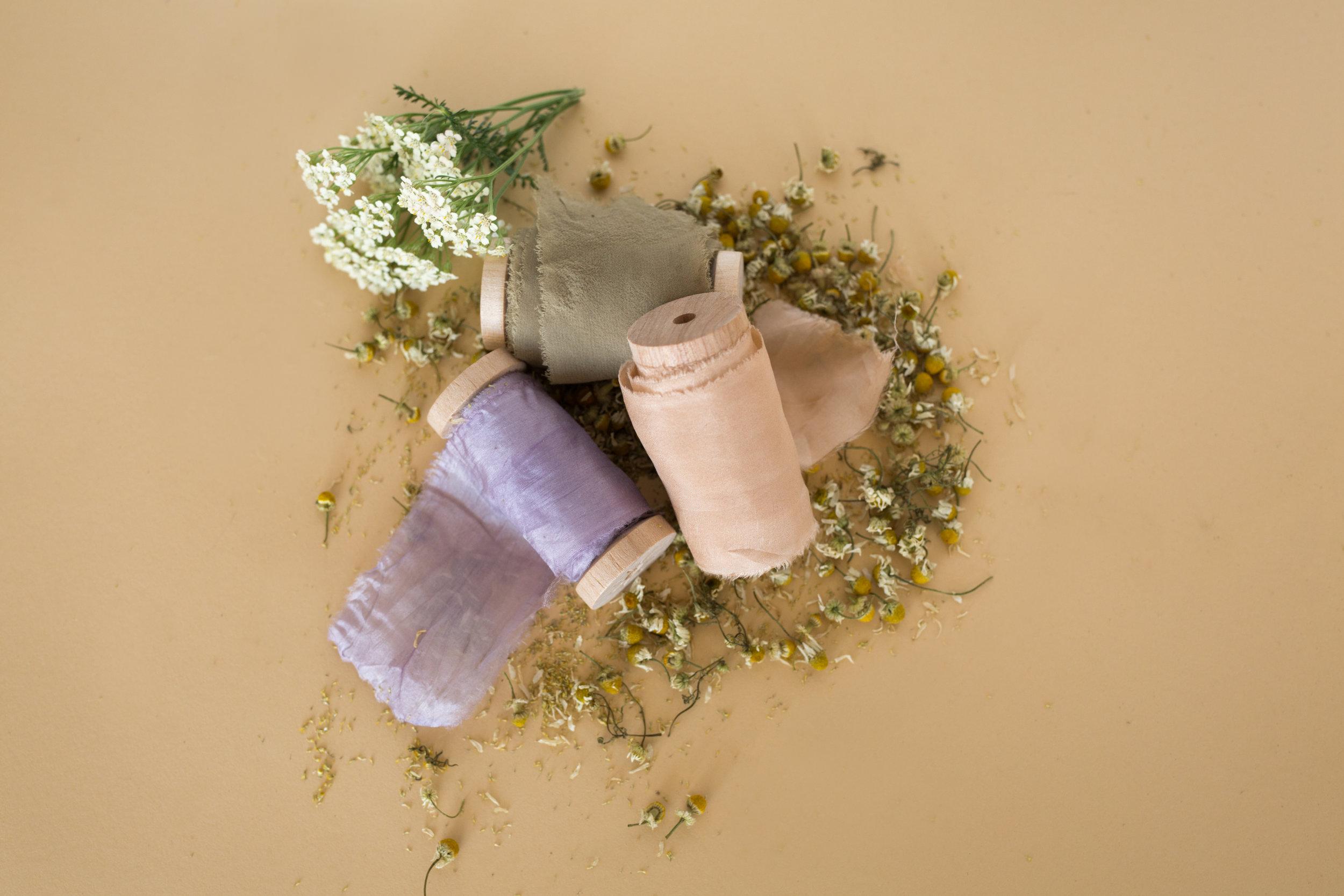 Violet    Habotai Silk Ribbon,    Blush    Habotai Silk Ribbon and Grey Chiffon Silk Ribbon