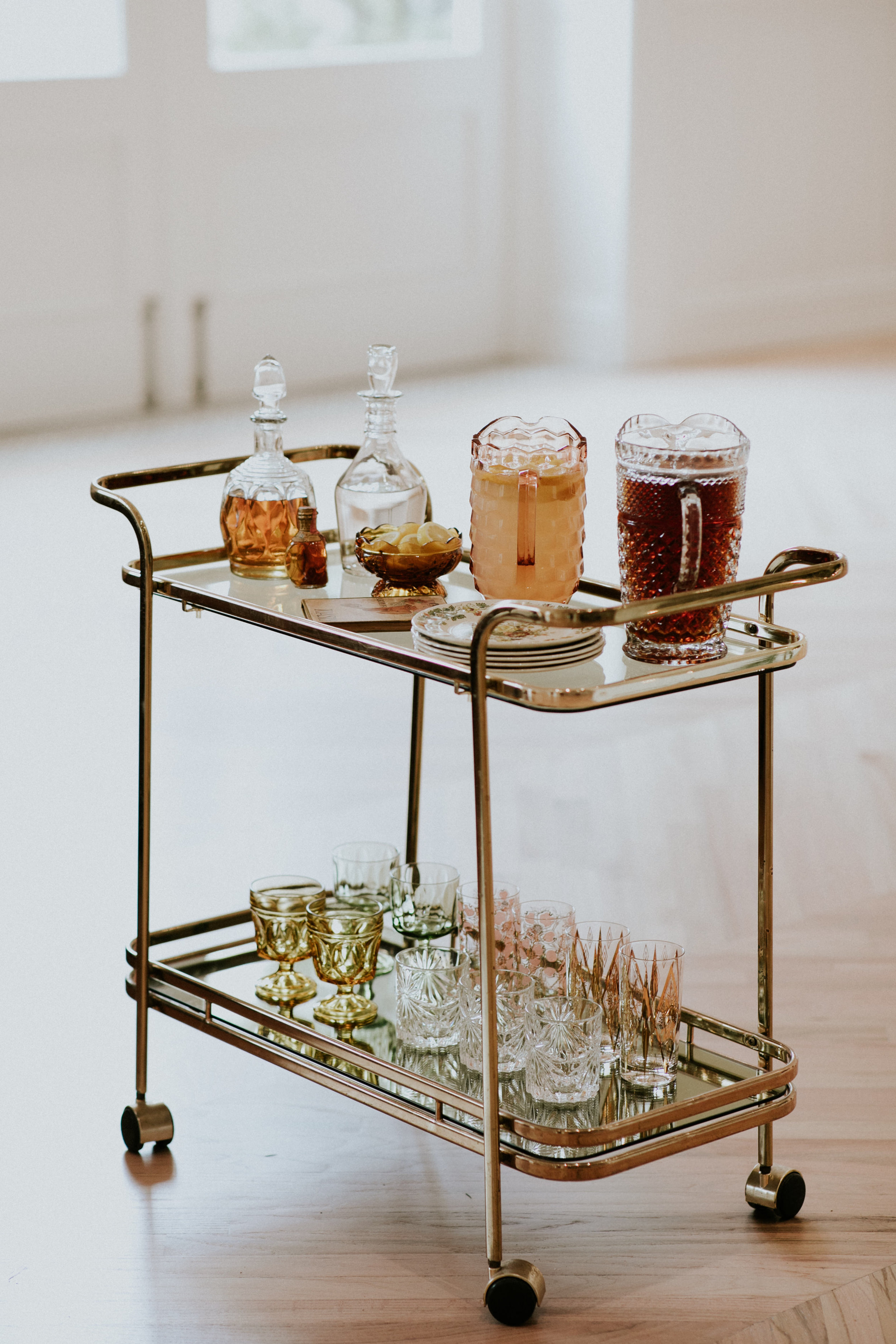 Bar Cart:  Bowery & Bash,  Vintage Glassware:  Gigi & Laclede