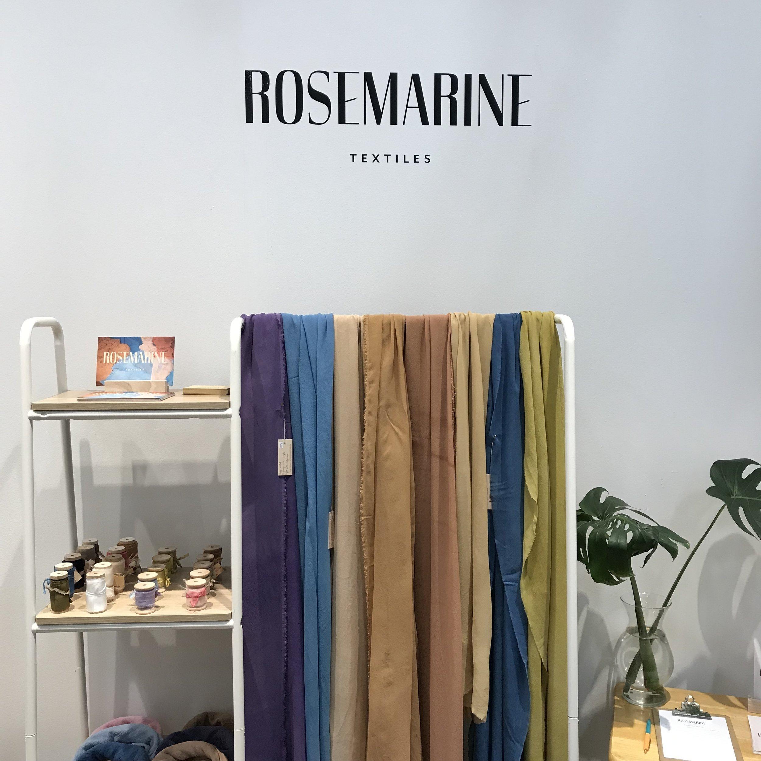 Rosemarine Textiles booth - ribbons, styling cloths, and bandanas.