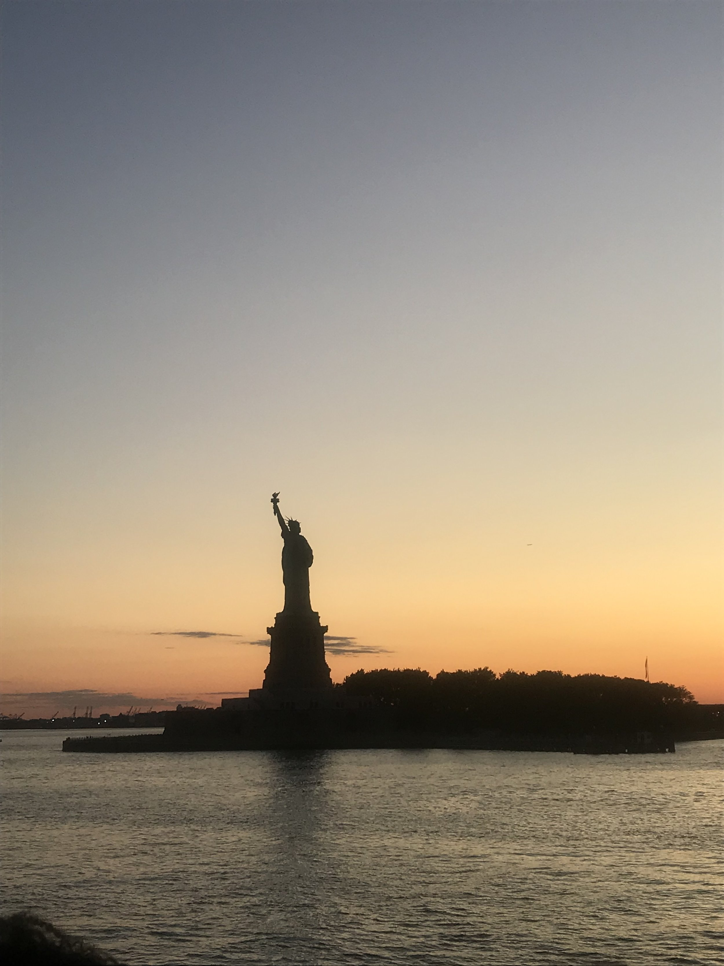 The Statue of Liberty at sunset from our sunset cruise.