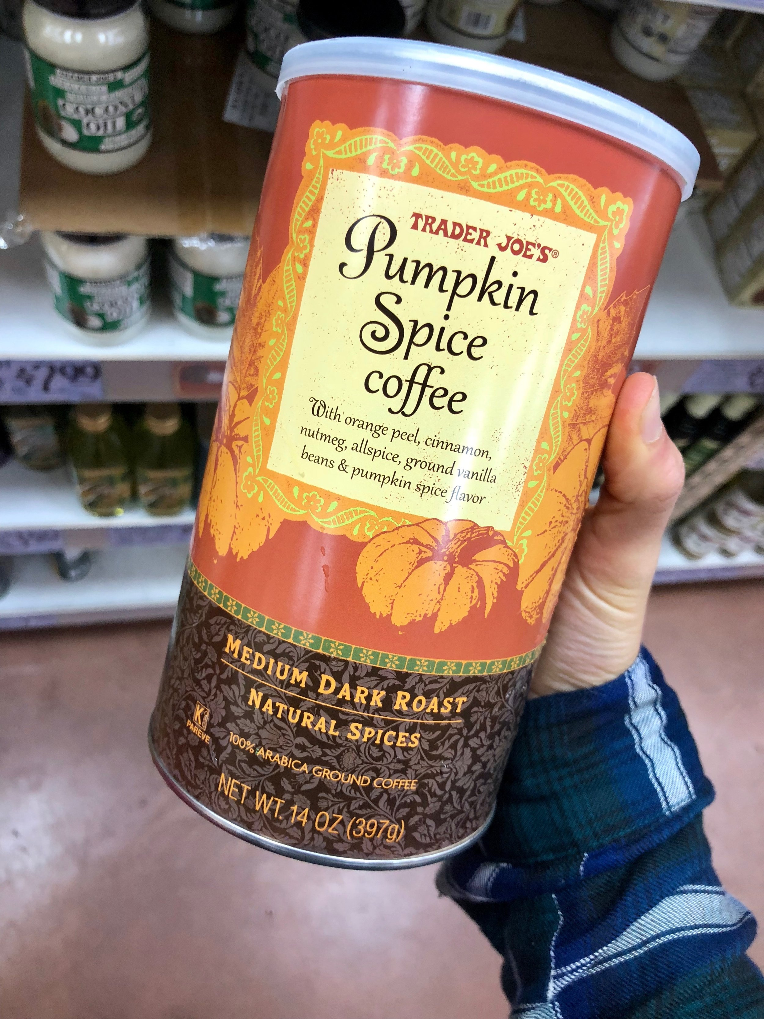 """Okay so this brand and flavor is not always a """"essential"""" but coffee is. Also, come fall… Pumpkin Spice Coffee is actually a must and this one was TJ's so I knew it'd be legit. Only $7.99 for 14 oz. and a really good flavor. Not too pumpkin-y, but enough to be like """"oh yeah it's fall baby"""" ya feel me??"""