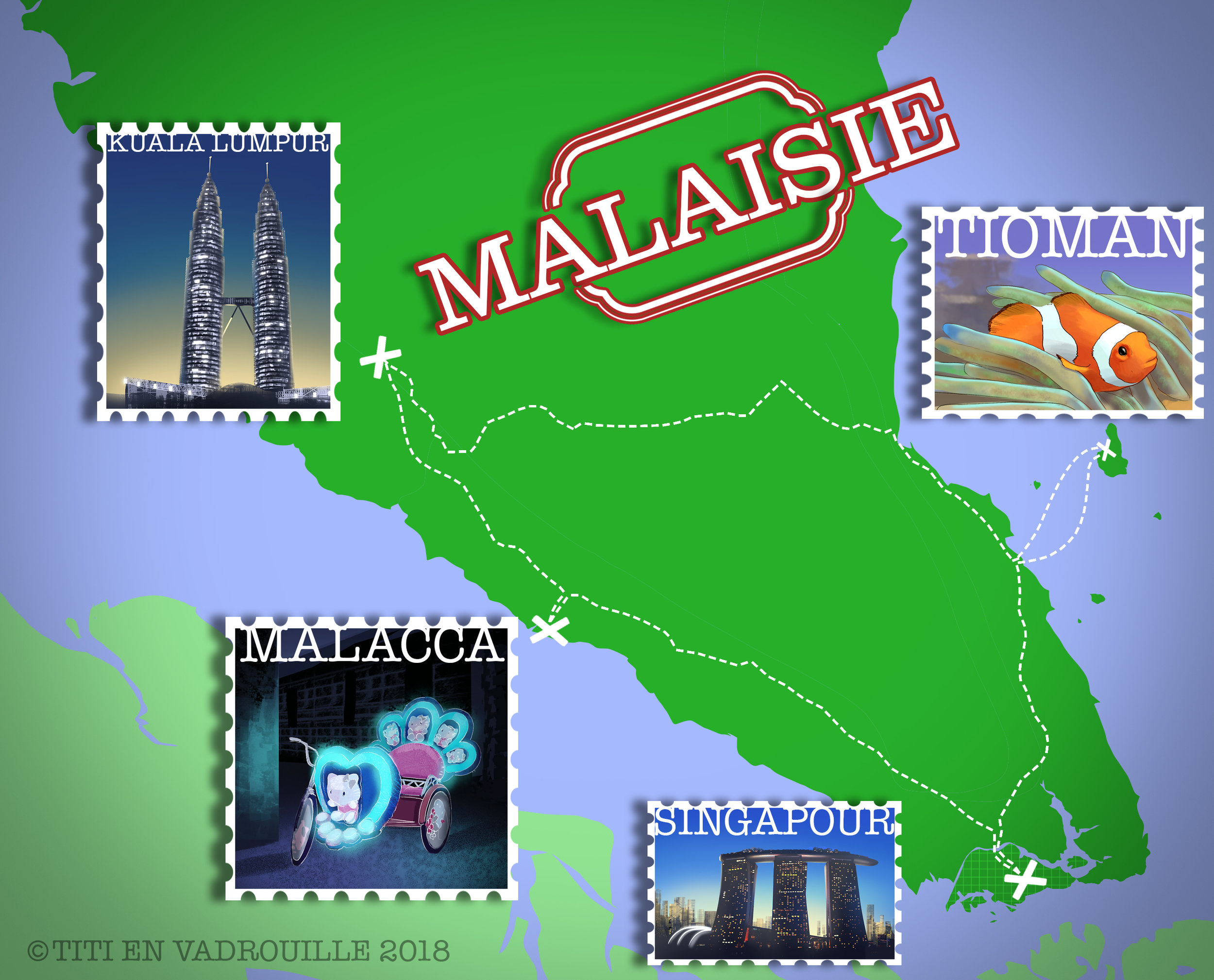 Un dessin vaut mille mots :) - Plus de 950 km parcourus en Malaisie- 4 bus, 2 bateaux et beaucoup de métros
