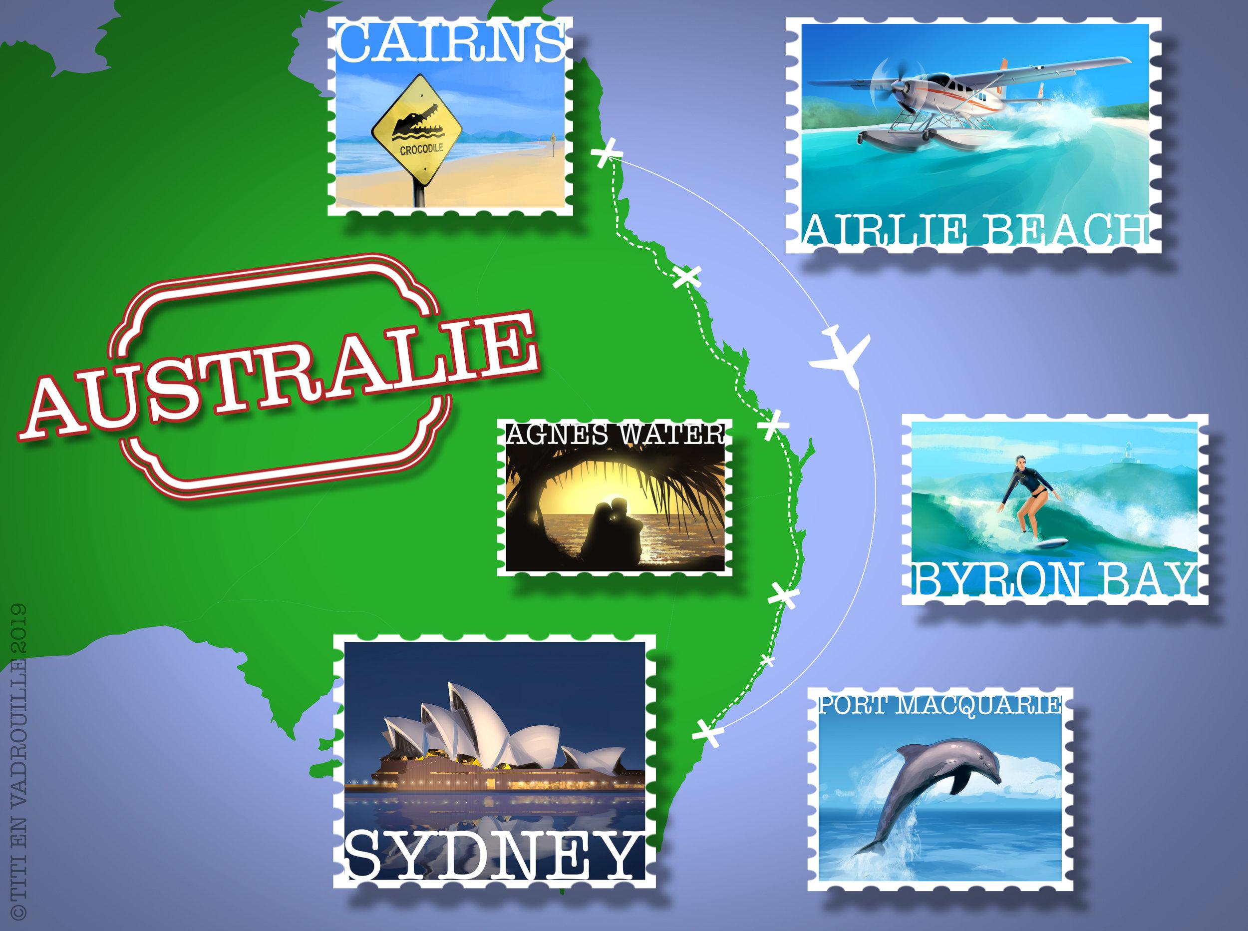 Un dessin vaut mille mots :) - Plus de 2.800 km parcourus en Australie en van + 1 avion
