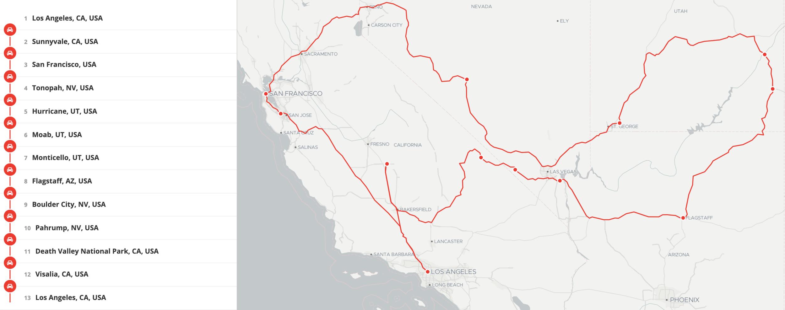 Dans les grandes lignes itinéraire de notre road trip de 15 jours sur la côte Ouest des USA
