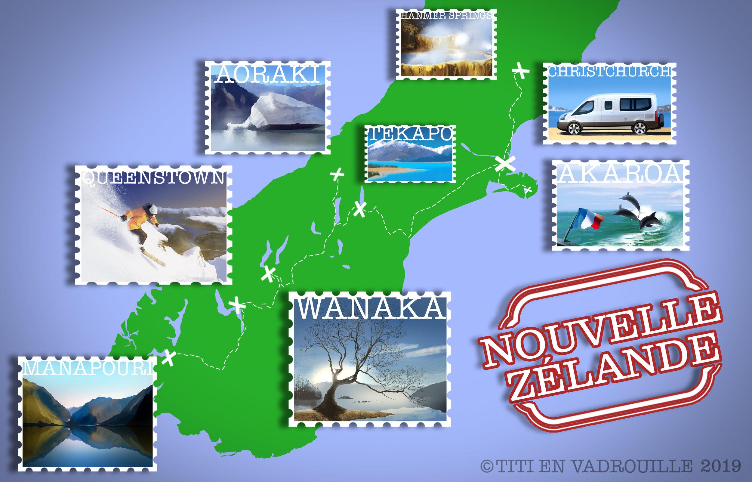 Un dessin vaut mille mots :) - Plus de 1.800 km en van sur l'île du Sud + 1 ferry et 1000 km en bus pour remonter de Christchurch jusqu'à Auckland sur l'île du Nord.
