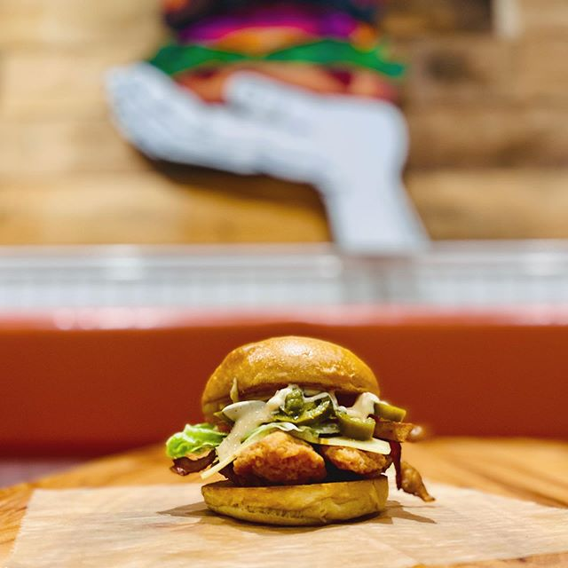Why you mad? Try the New ANGRY BIRD delicious crunchy chicken breast with pepper jack cheese, bacon, LT, jalapeños and of course some of our house made Angry Mayo all warm and cozy between our fresh baked buns. Come in or order online. Make your belly happy.  #whyyoumad #someoneangry #funwithfries #eatgood #delicous #bayridge #eating #burgeratti #foodgod #friedchicken