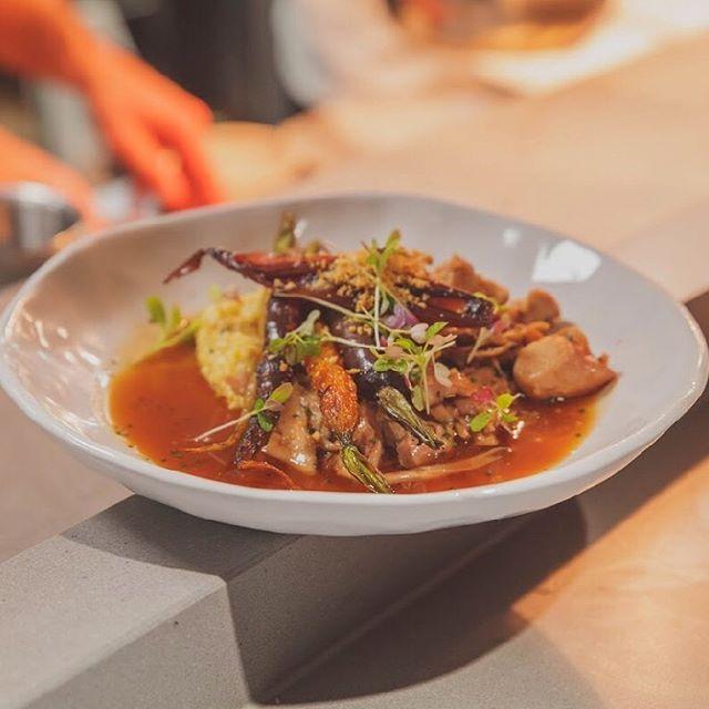 Banging flavours on this recently added dish 🍽  Rabbit ragu, polenta, baby carrot, hazelnut crumb.