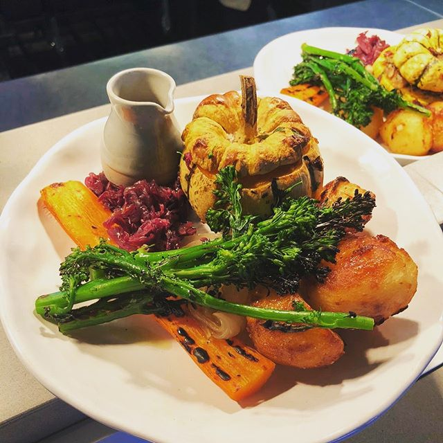 Trick or treat? Book now for Sunday roast 😉  On the menu this week - beetroot and walnut tart or roast chicken with sage and onion stuffing, both served with all the veggies...