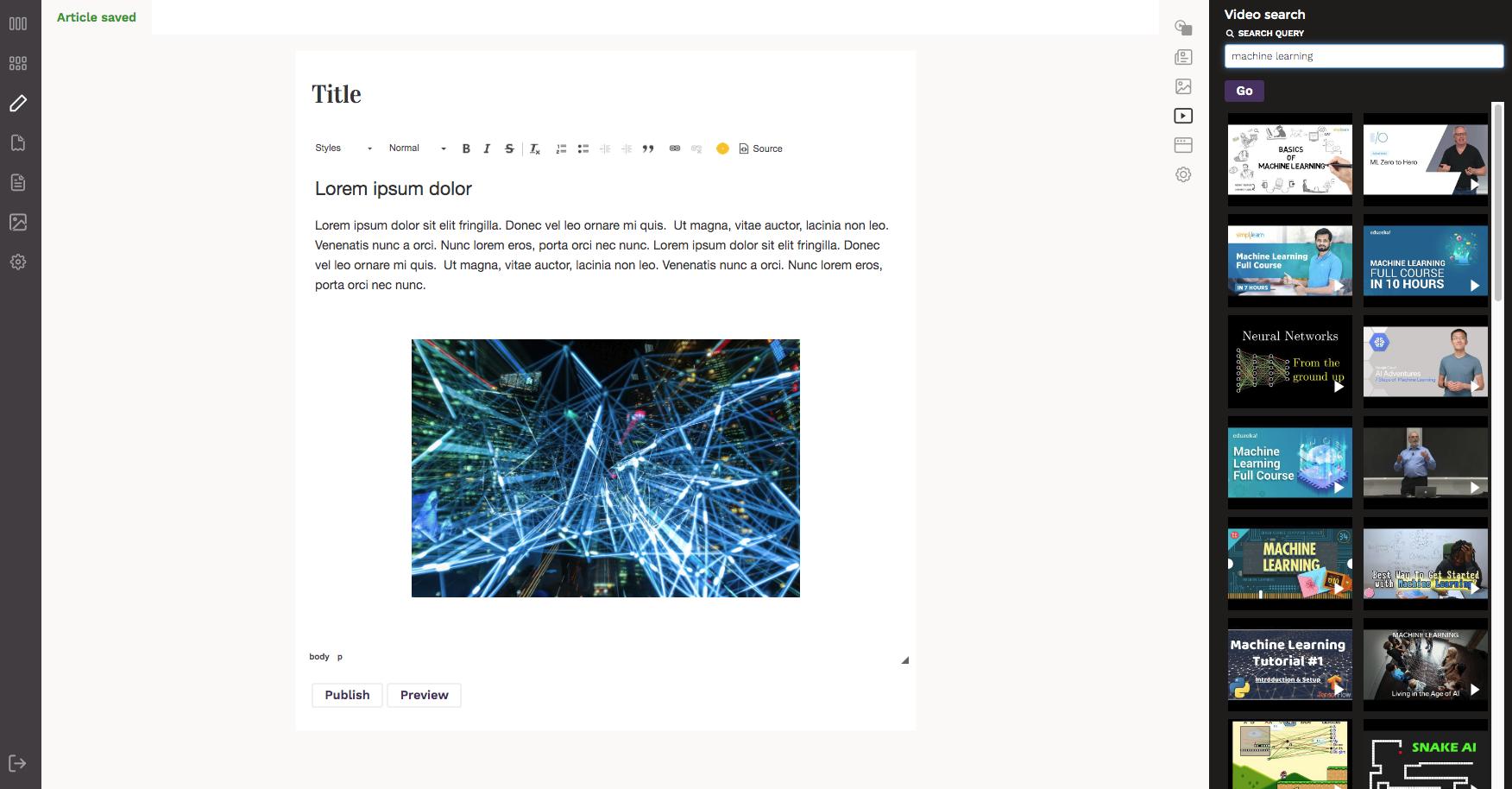 Editor user interface