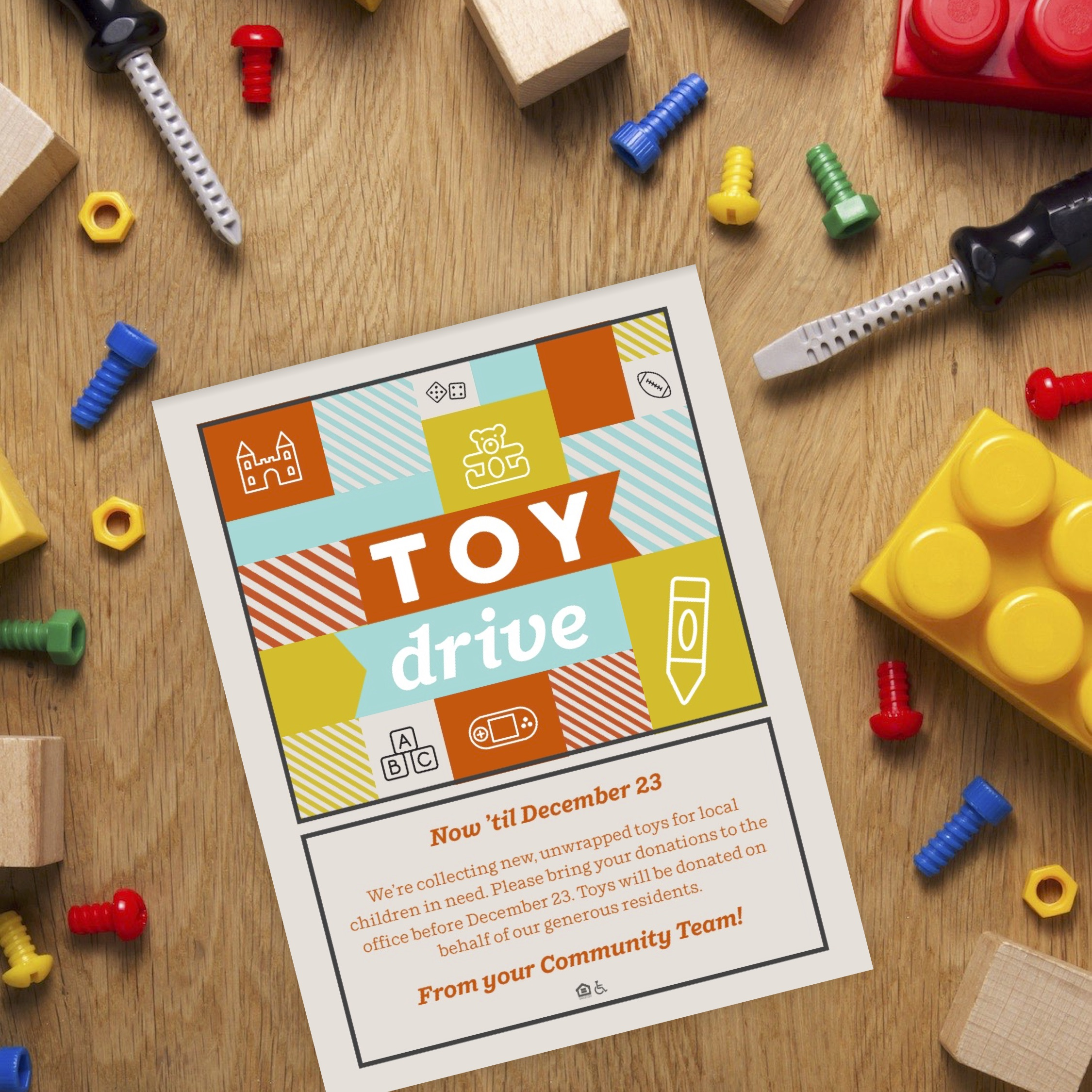 Get this design customized with your Toy Drive details.
