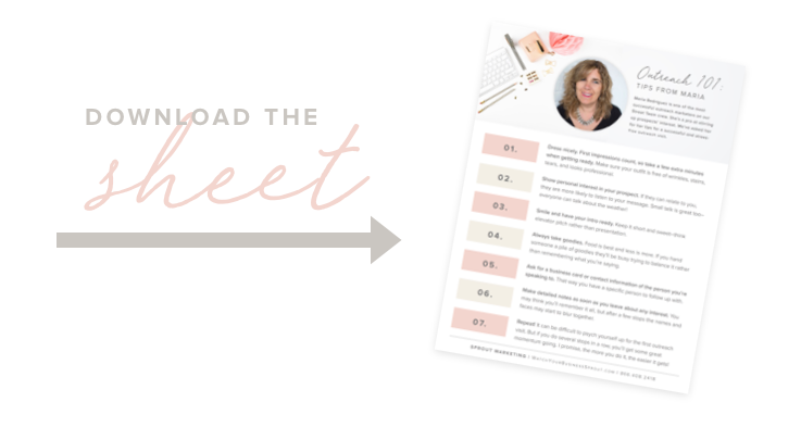 Grab 5 Tips from Maria worksheet…The Sprout Outreach Pro!