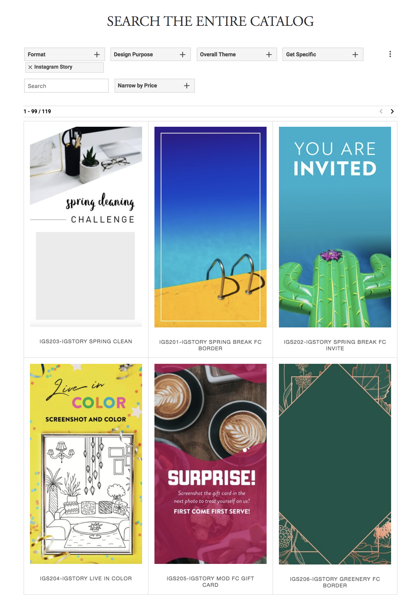 Grab your IG Stories from The Sprout catalog. Search  here . Select  Instagram Story  under  Format .