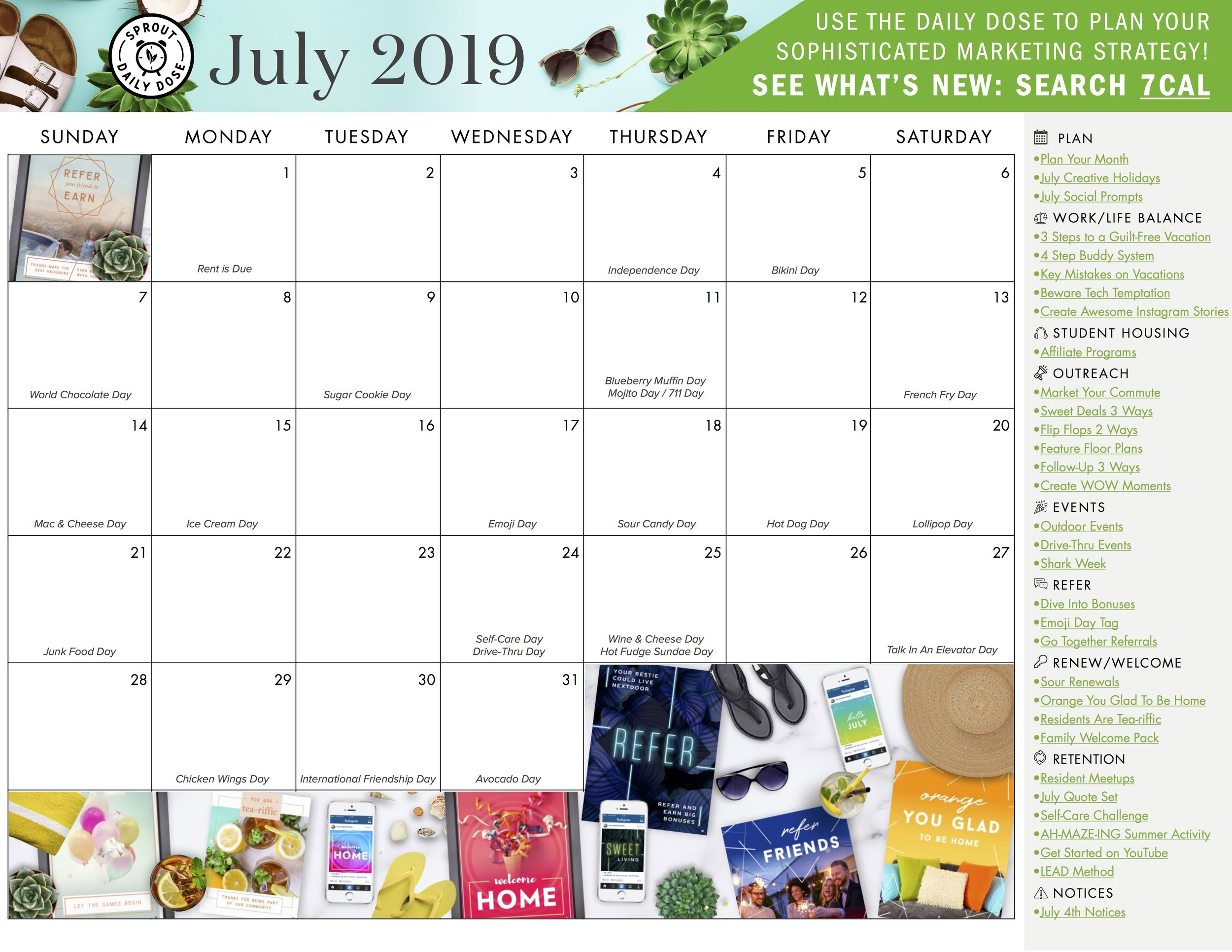 Grab the blank monthly calendar with links here