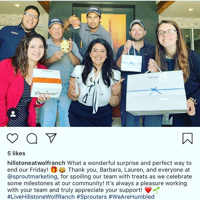 Shout out to @marilynnbell and her team @hillstoneatwolfranch! These #sprouters are hitting some big goals at their community and we wanted to celebrate them! way to go team! 🙌🙌🙌🙌🙌🙌🙌🙌🙌🙌🙌🙌🙌🙌🙌 Who will be the next community to get a sweet Sprout surprise? Drop us a line below 👇and let us know what big goals you and your team are reaching! You might be the next Sprouter 🌱 we surprise with treats! 🎉  #sproutmarketing #Sprouter #sproutcommunity #multifamilymarketing #apartmentmarketing #weloveoursprouters #celebratethewins