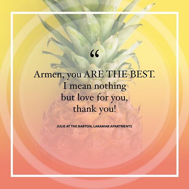 "Our customer service superstar got a personal shout out! WHOOP WHOOP 🙌🏼 ‍ ""Armen, you ARE THE BEST. I mean nothing but love for you, thank you!!"" - Julie at The Barton, Laramar Apartments ‍ . . . . . #SproutMarketing #sprouterlife #sprouters #marketinggoals #testimonial #marketingtestimonial #multifamilymarketing #apartmentmarketing #realestate #realestatemarketing #stockphotography #photography #marketingideas #multifamilyrealestate #multifamilymarketing #marketingstrategies #socialmediamanagement #propertymarketing #propertymanager #propertymanagement #leasingprofessional  #leasingagent #apartmentliving http://bit.ly/2IdLRN6"