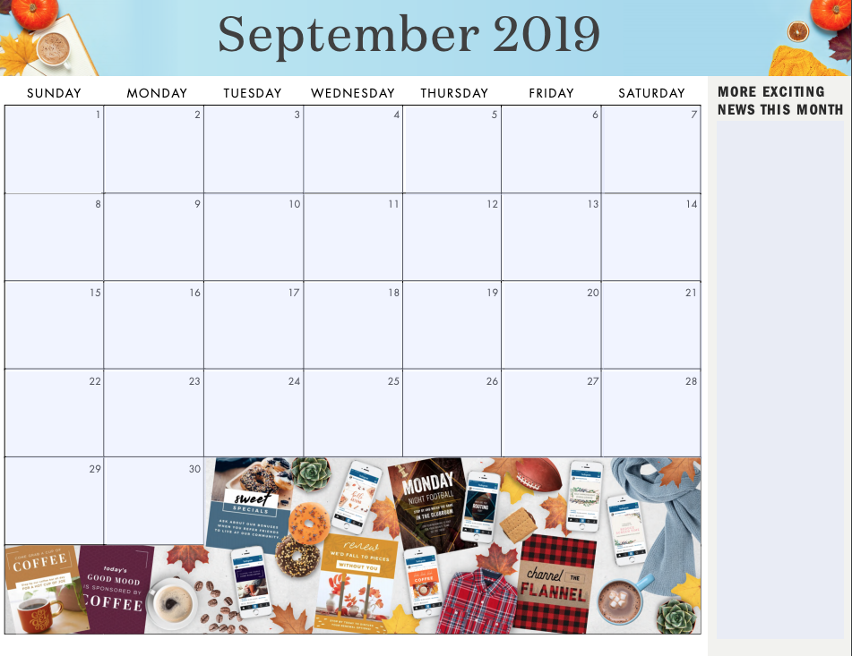 Grab the fully blank monthly calendar here to add your own initiatives .