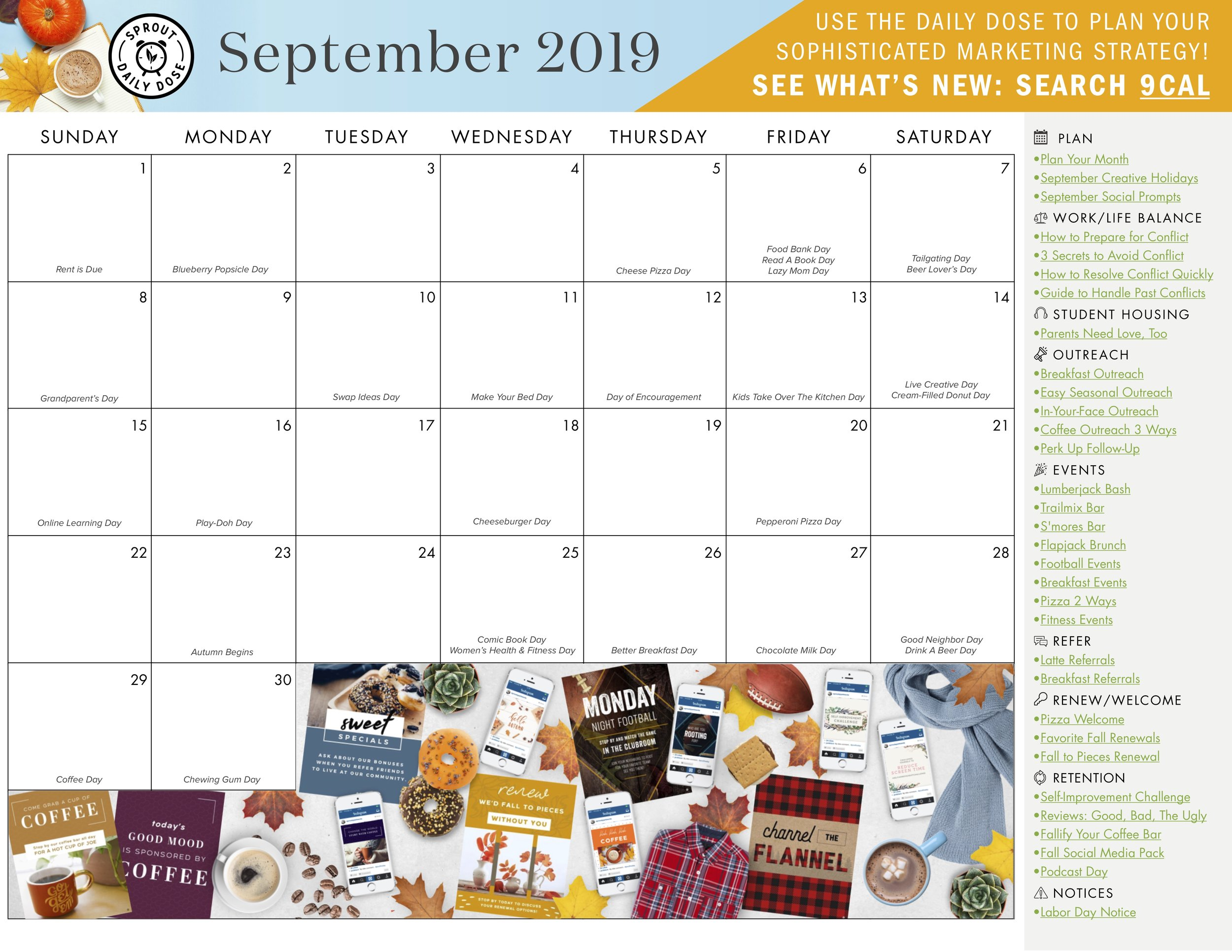 Grab the blank monthly calendar with links here to add your own initiatives.