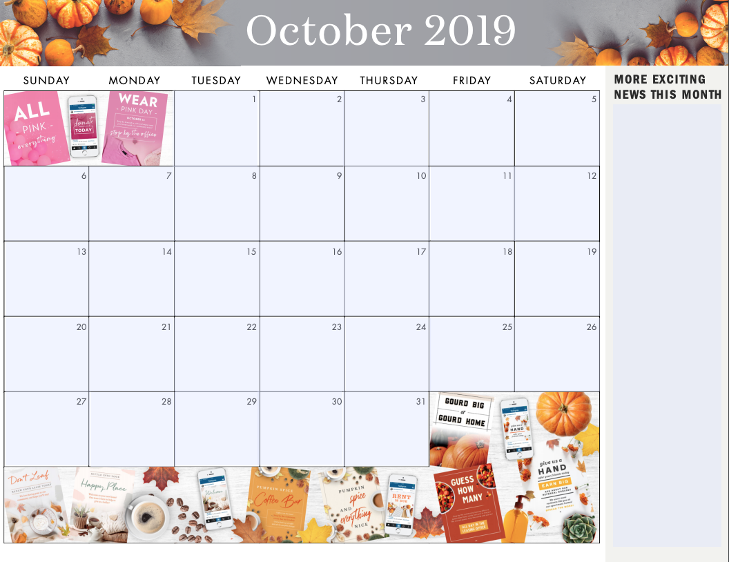 Grab the fully blank monthly calendar here to add your own initiatives.