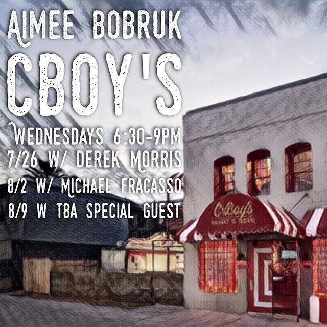 Tomorrow night 6:30-9:00pm come on out to CBoy's for a happy hour that is sure to make you cry! My buddy and talented pianist Derek Morris will be doing a rare and special set as a guest!