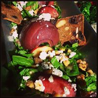 Wine Poached Pear, Goat Cheese and Walnut Salad