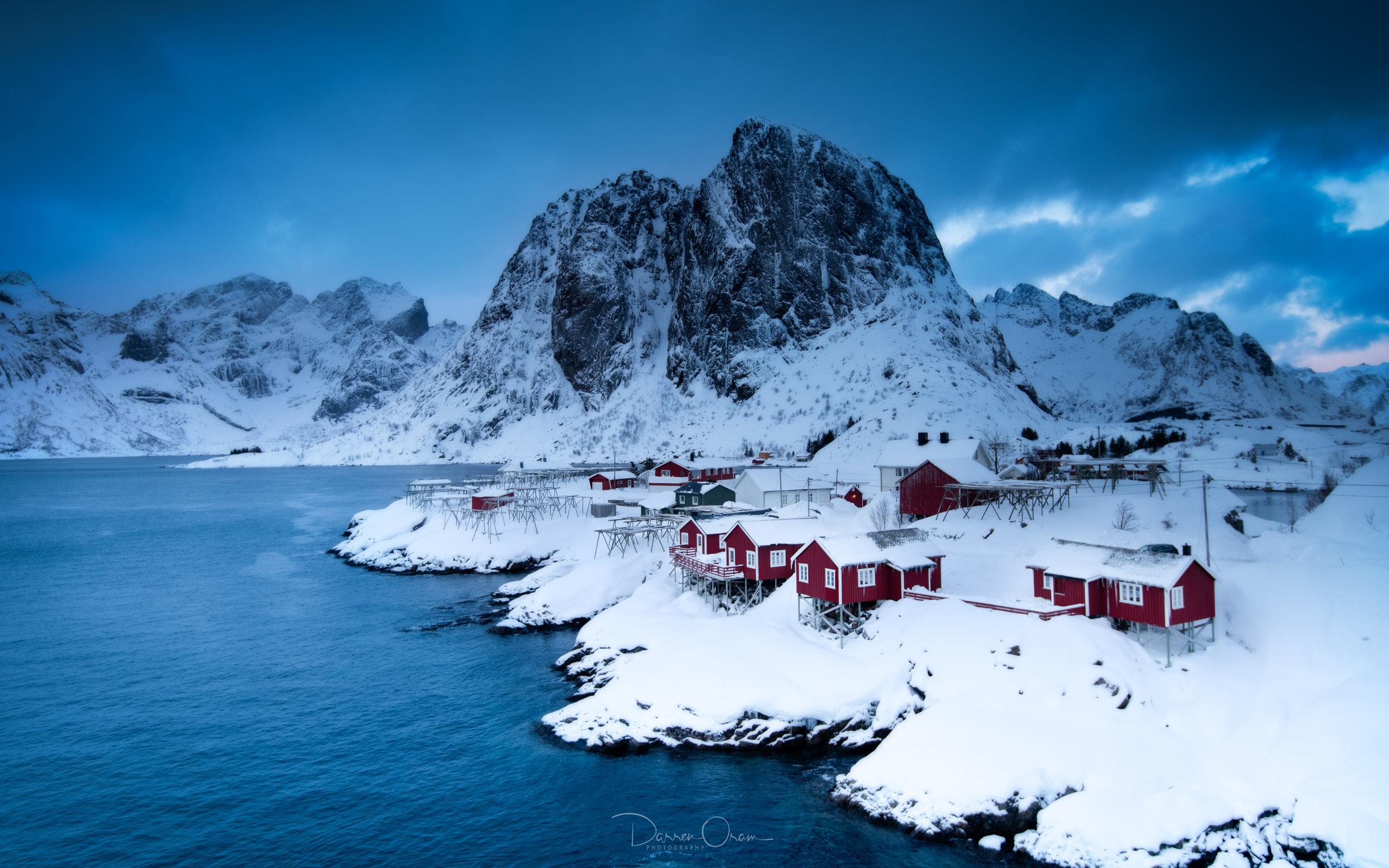 Hamnøy covered in snow