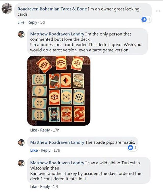 Shout out to @roadraven1973 for these amazing comments on our Woodland Deck.  Definitely watch out for those wild albino turkeys!  #fate #playingcards #woodland #deck #graphicdesign #cardistry #onsale