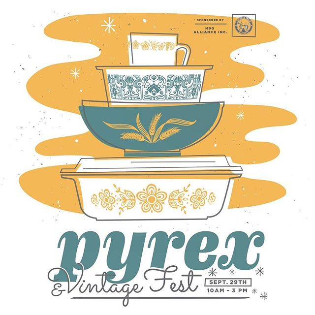 Headed to #pyrexfest in Havre de Grace Maryland on Saturday!  Come see us in front of @joretro starting at 10 AM #pyrex #havredegrace #pyrexforsale #artsale #maryland #fall